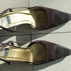 STUART WEITZMAN Brown Satin & Leather Shoes